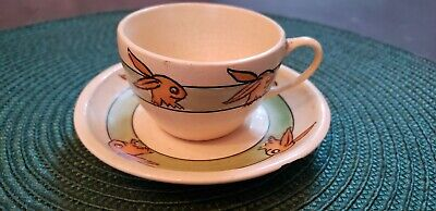 """*Rare *Vintage Roseville Bunny Rabbit """"head only """"tea cup and saucer for sale  Gig Harbor"""
