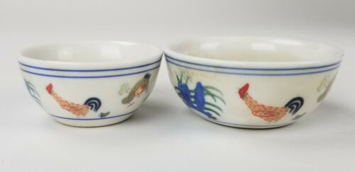 Chinese Doucai Porcelain Ming Style Chenghua Mark Chicken Cups Pair Antique Vtg