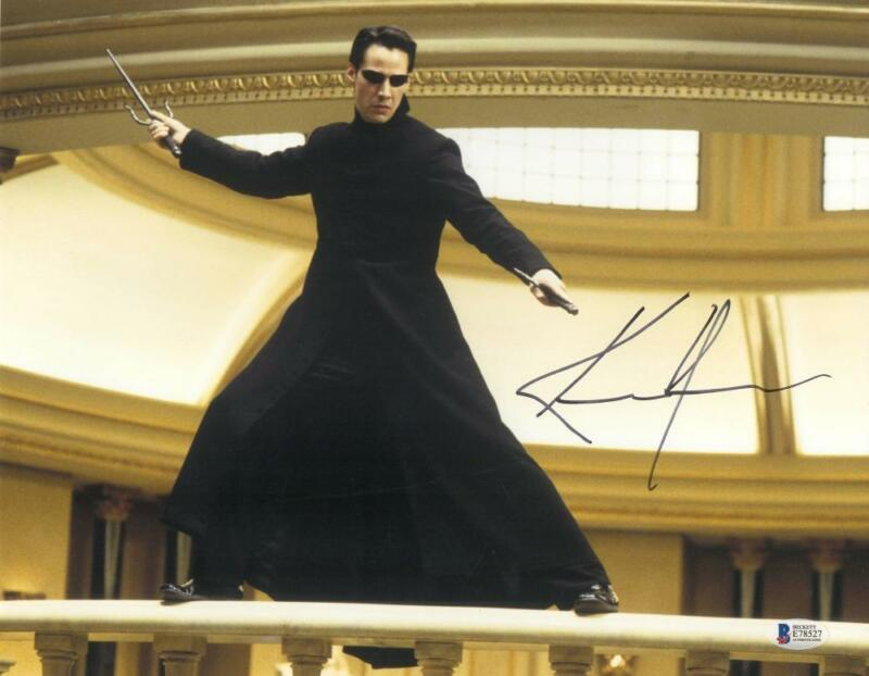 KEANU REEVES SIGNED 11X14 PHOTO THE MATRIX AUTHENTIC AUTOGRAPH BECKETT COA E