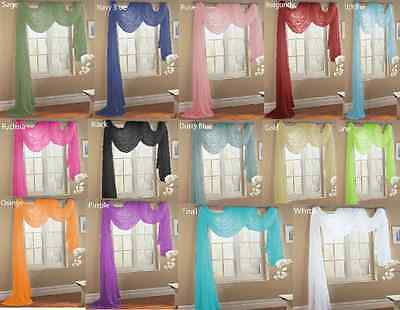 WINDOW SHEER SCARF  VOILE WINDOW  CURTAIN DRAPES VALANCE 37