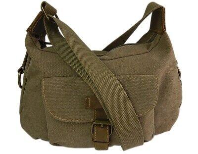 Moderne Damen Handtasche Umhängetasche robuste Canvas-Stoff mit Echtleder Besatz - Robuste Canvas Taschen