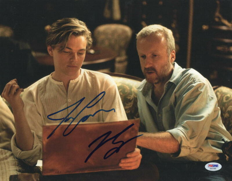 LEONARDO DICAPRIO JAMES CAMERON SIGNED 11X14 PHOTO AUTOGRAPH TITANIC PSA LOA