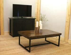 Local Reclaimed Wood and Iron Coffee Table $1095. By LIKEN Woodworks