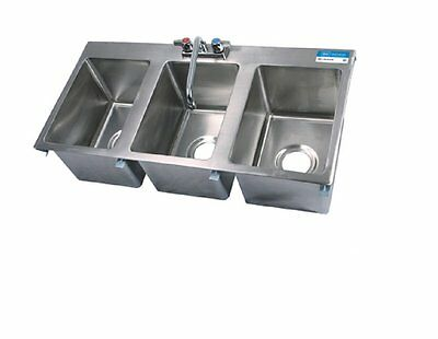 Three Compartment Drop In Sink W Faucet Bbk-dis-1014-3-p-g