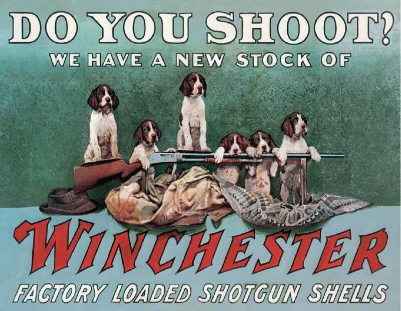 Winchester Shotgun Shells Hunting Dogs Puppies Do You Shoot? Tin Metal Sign