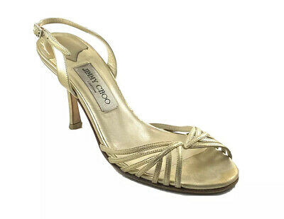 JIMMY CHOO Slingback Open Toe Pumps Size 8 EU 38 Gold Leather Stiletto Heels