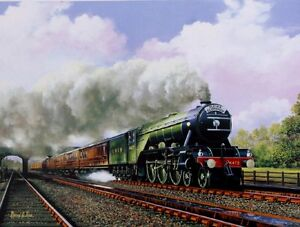 BEAUTIFUL PRINT PICTURE PAINTING FLYING SCOTSMAN 4472 STEAM TRAIN RAILWAY