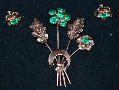 "Art Deco Green Rhinestone Gold Plated Sterling Silver 3.5"" Flower Pin & Earrings"