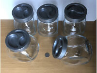 5x Large Glass Storage Jars with Plastic Screw Lids Pasabahce
