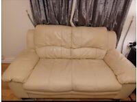 Cream leather sofa 2 seater