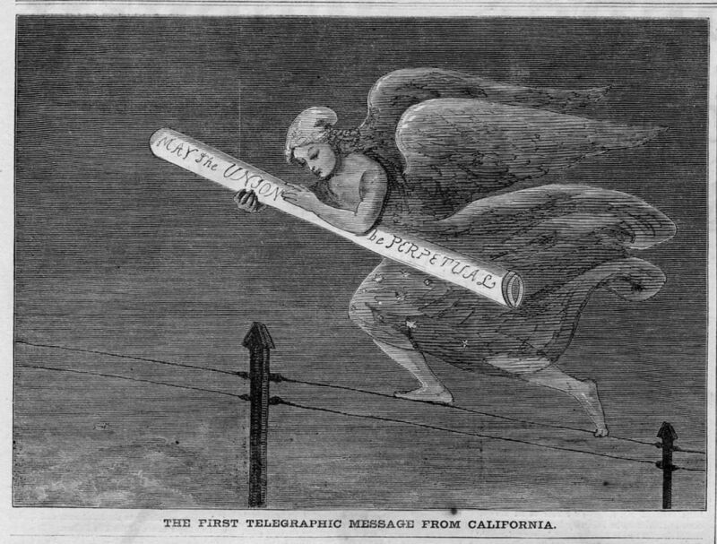 FIRST TELEGRAPHIC MESSAGE FROM CALIFORNIA CHERUB ON TELEGRAPH WIRES 1861 HISTORY