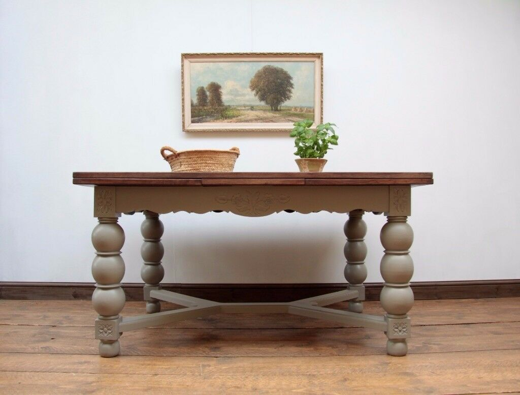 Large Antique Painted French Dining Table, Extending Oak Table, French Linen