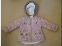 Girls Pink Patterned Winter Coat Age 12-18 Months