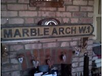 Vintage wooden carved London street road sign name Marble Arch W1