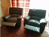 Brown leather recliner sofa and armchairs