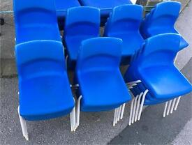 30 kiddies stacking chairs Blue poly props £4 each