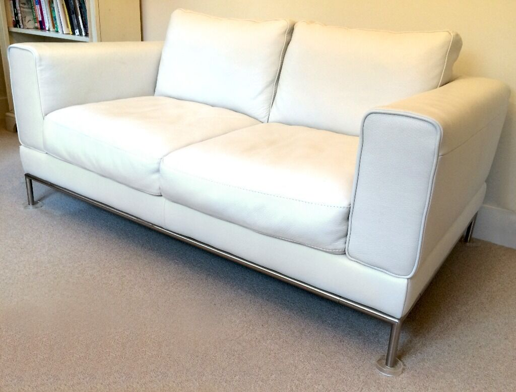 White Leather Sofa Ikea Arild 2 Seater Immaculate In