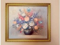 T Kelly original oil painting flowers still life antique style gold frame