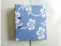 WHSMITH Blue Floral Hawaiian Freespirit Roxy Style Back-To-School Lever Arch File Folder NWT £4 ONO