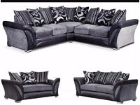 - SHANNON ITALIAN STYLE HIGH QUALITY FABRIC - LARGE CORNER OR 3+2 SOFA SET - BRAND NEW - QUICK DROP