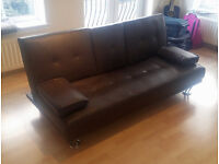 Sofa bed for sale, dark brown leatherette material.
