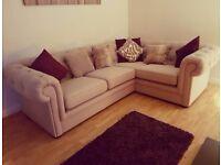 Beige left hand corner sofa