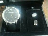 Emporio Armani Mens watch with Cufflinks. New. unworn.