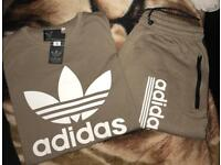 Biege Adidas shorts and top