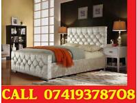 New Crush velvet Designer Double Single Kingsize Bed with Orthopaedic Mattress hirwa