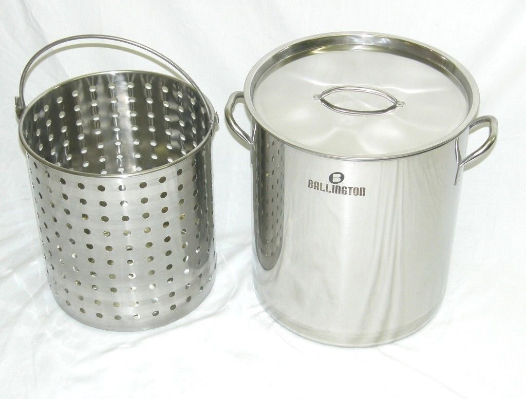 42 qt Quart 10 Gal Stainless Steel Stock Pot Steamer Basket