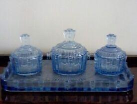 Pale Blue Glass Vanity Set
