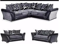 SAME DAY EXPRESS DELIVERY SHANNON CORNER SOFA AND 3 AND 2 SEATER SOFA AVAILABLE IN BLACK & BROWN