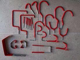 Various multipurpose red vinyl hooks