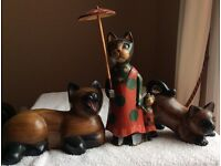 Wooden Cat Orniments.