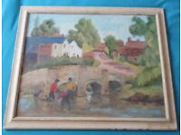 Antique Impressionist Oil Painting Tilford Bridge Signed