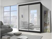 German 2 Door Sliding Mirror Wardrob with Extra Shelves, 2 Hanging Rails- Brand New