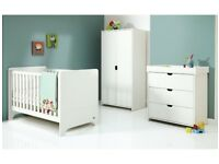 White Mamas & Papas Rocco Wardrobe, Changing Unit, New Cot Bed & Mattress