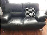 Bkack leather 2 seater sofa