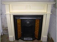 Original Edwardian Victorian Art Nouveau Tiled Cast Iron Fire Place Fireplace and Wood Surround