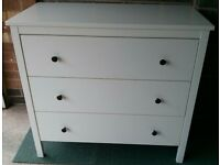 Ikea Koppang 3 draw chest of drawers in white