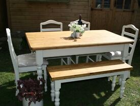 BEAUTIFUL, 5 ft PINE, SHABBY CHIC, DINING TABLE AND 4 CHAIRS & FARMHOUSE BENCH, F & B paint