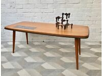 Large Vintage Retro Coffee Table with Tiles #465