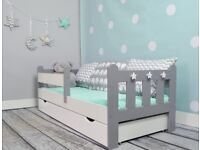 Junior Toddler bed Grey/ White with drawer and mattress