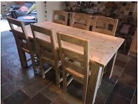 Reclaimed Pine Rustic Table & 6 Ladderback Chairs