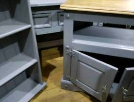 3 piece solid wood set - tv unit, hall table and display unit