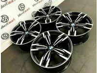 "BRAND NEW 20"" BMW M6 STYLE ALLOY WHEELS *TYRES AVAILABLE* - GLOSS BLACK DIAMOND CUT FINISH"