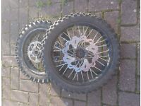 Pit bike wheels and shocks, for spares and repairs
