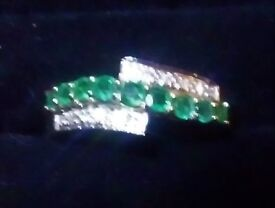 emerald and diamond ring for sale, 65points.9k gold.size P