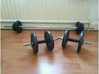 Dumbell and barbell set , iron
