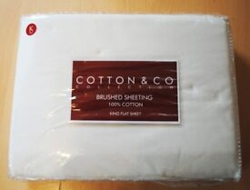 Brand New King Size Flat Sheet in ivory or pink 100% cotton